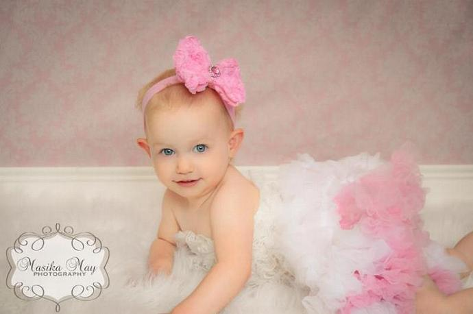 Pink Chiffon Rosette Bow Headband with Rhinestone Button