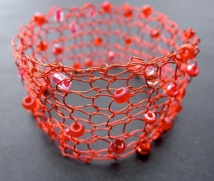 Lady in Red Handmade Knit Wire Bracelet for sale