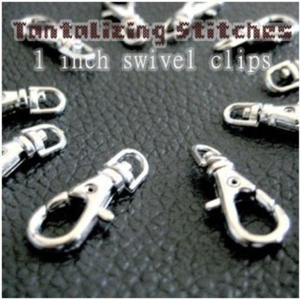5 Nickel Plated Lobster Swivel Clasps - 1 INCH