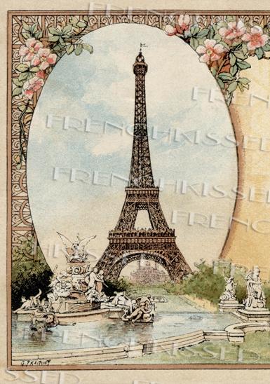 Antique Paris Souvenir Postcard Eiffel Tower Frenchkissed