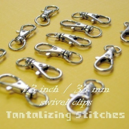 100 Nickel Plated Lobster Swivel Clasps - 1.3 INCH