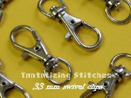 5 Nickel Plated Lobster Swivel Clasps - 1.3 INCH