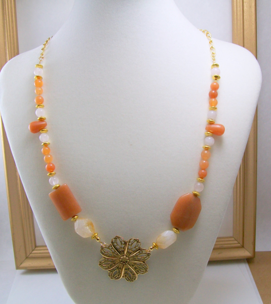 Carnelian & Citrine Necklace with Pendant