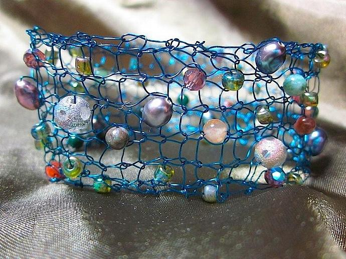 Handcrafted Jewelry: Hand-Knit Beaded Teal Wire Bracelet for sale