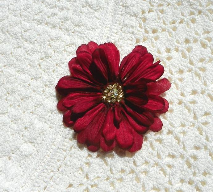 Red Wine flower clip with Glass Beads and Golden Cream Sequins Center