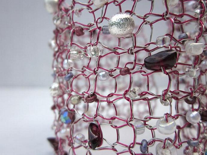 Handmade Bracelet: Silver and Pink Knit Wire Beaded Cuff Bracelet for sale