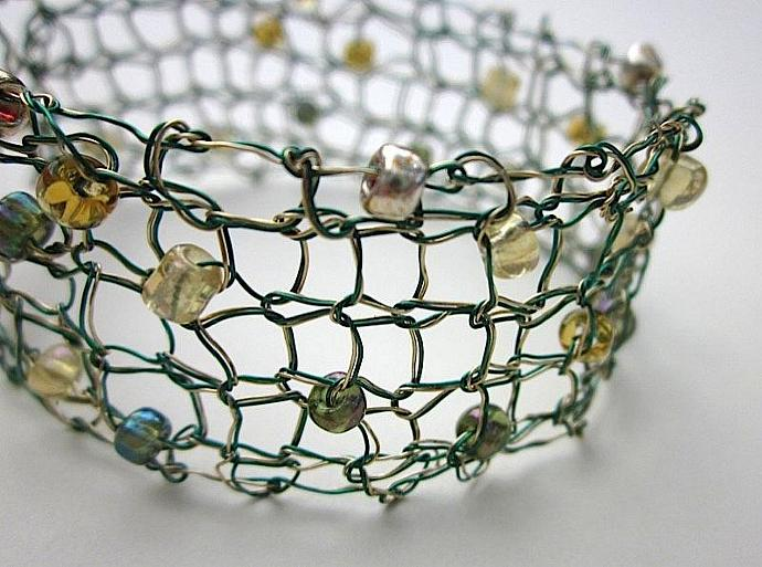 Double-strand Green and Gold Hand-Knit Wire Beaded Bracelet for sale