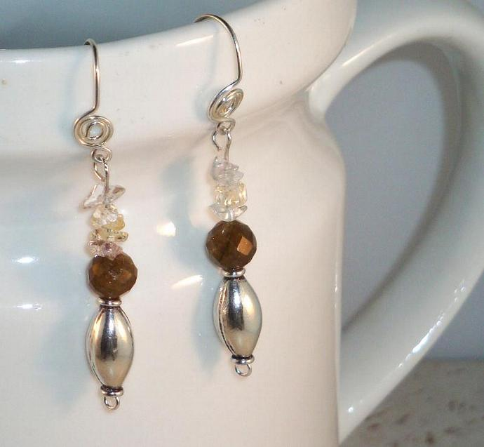 Labradorite and Sterling Silver Drop Earrings