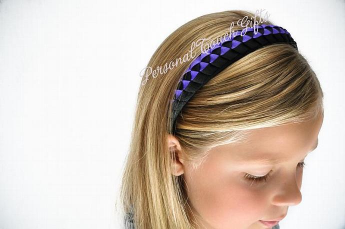 Purple and Black Braided Headband