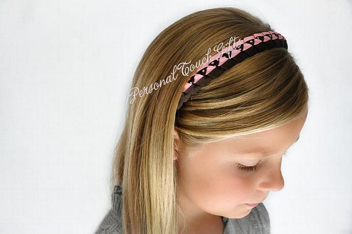 Pink and Brown Braided Headband
