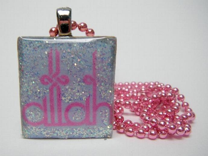 Scrabble Tile Pendanet Necklace - Pink Allah