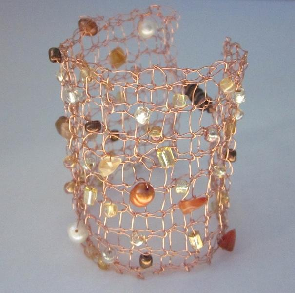 Handcrafted Knit Copper Wire Beaded Cuff Bracelet for sale