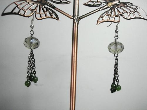 Smokey Jade Dangle Earrings.