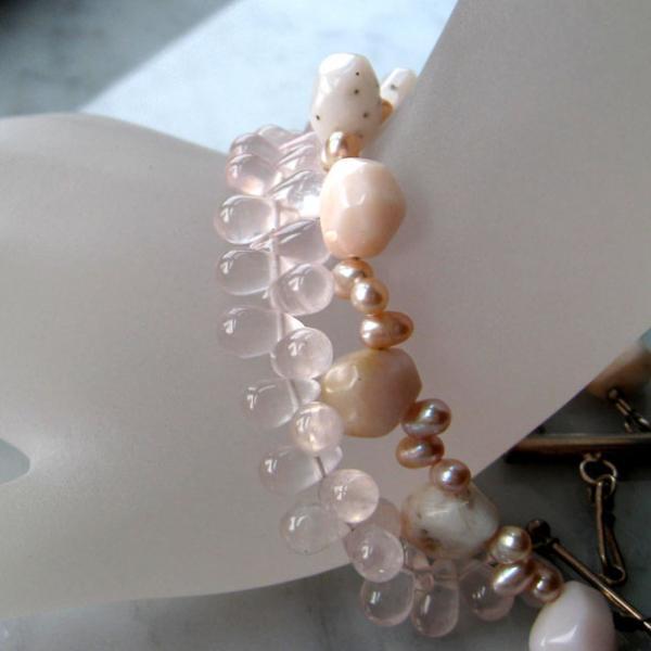 Pink Opal & Rose Quartz Silver bracelet