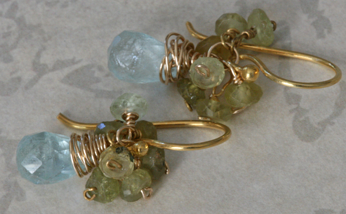 SPARKLY AQUAMARINE & GREEN GARNET Gold Earrings