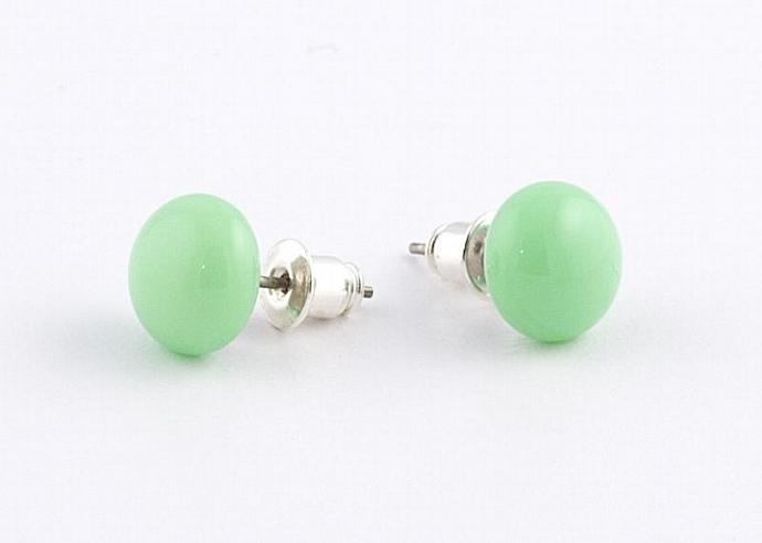 Circle Post Earrings in Mint Green