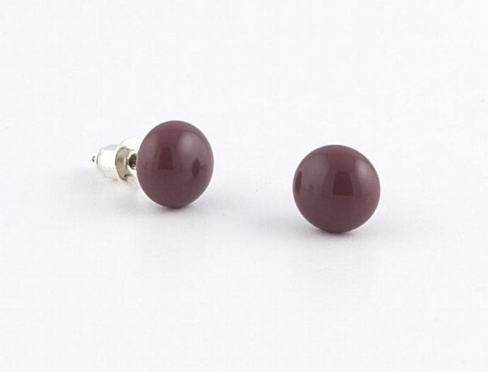 Circle Post Earrings in Purple