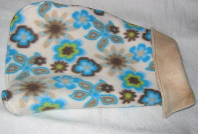 Fleece Dog Coat Reversible Blue Flowers