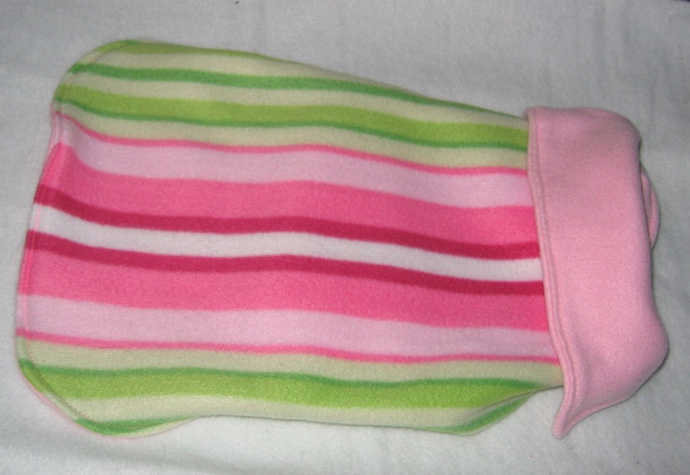 Dog Coat Pink Stripe Reversible Fleece