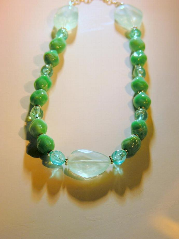 Handmade Chunky Green Acrylic Necklace with Sterling Findings