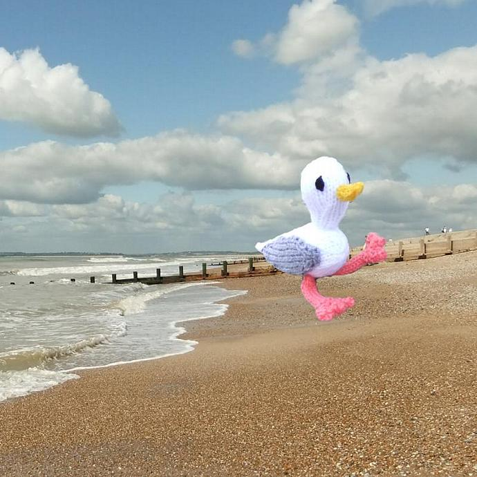 Seagull handknitted on an English beach!