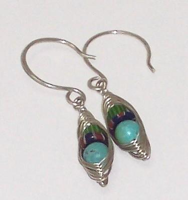 Sterling Silver Herringbone Weave Gemstone Earrings