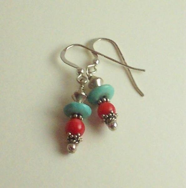 Red Coral and Turquoise Earrings