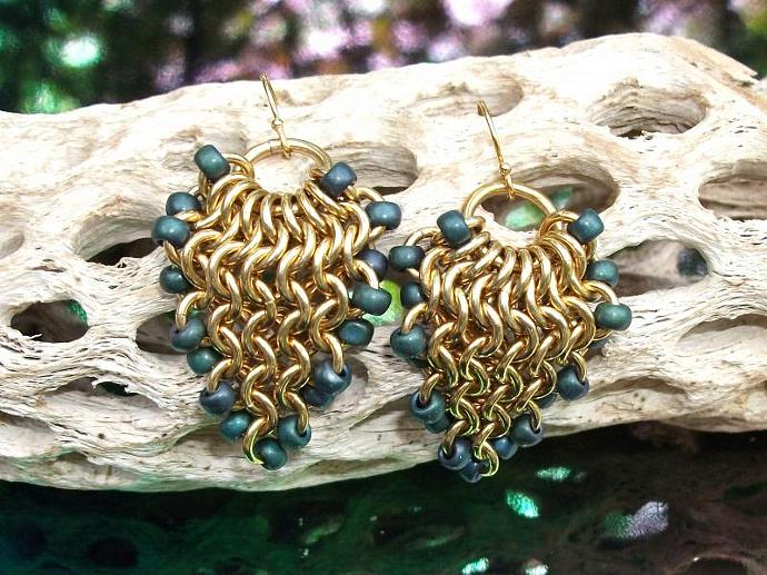 Green and Brass Grapevine Earrings