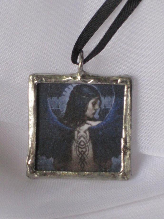 Double Image Glass Pendant  - Dark  Angel / Pentagram