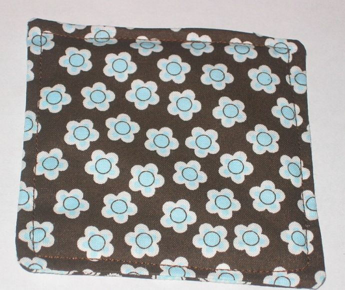 4 Retro Blue Flower Paisley Coasters