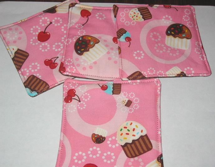 4 Pink Cupcake Coasters
