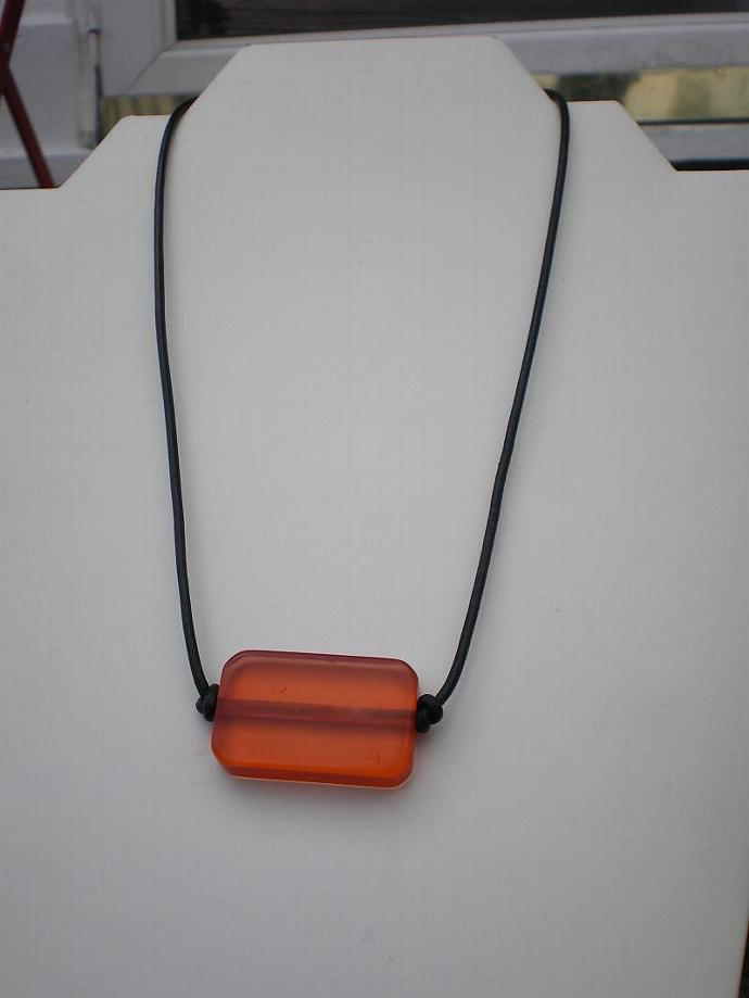 Resin and leather necklace