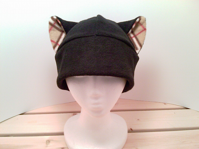 BLACK / plaid print KITTY CAT hat anime snowboard