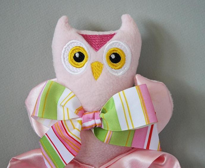 Pink Owl Lovey Blanket, Satin, Baby Blanket, Stuffed Animal, Baby Toy -