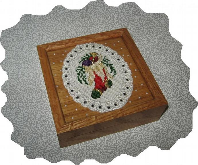 NEW Cross Stitch Stocking, Snow Flakes, Wood Memory Box