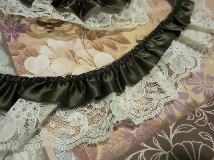 1yd - Brown Satin & Natural Double Gathered Lace