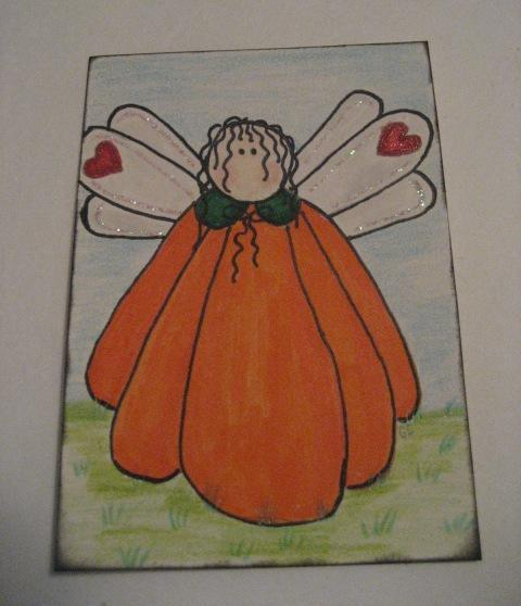 The Great Pumpkin Angel ACEO art card for Halloween