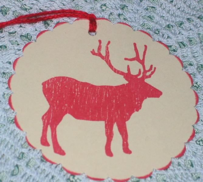 4 Red Elk Hang Tags