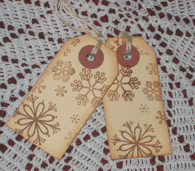 8 Primitive Aged Snowflake Hang Tags