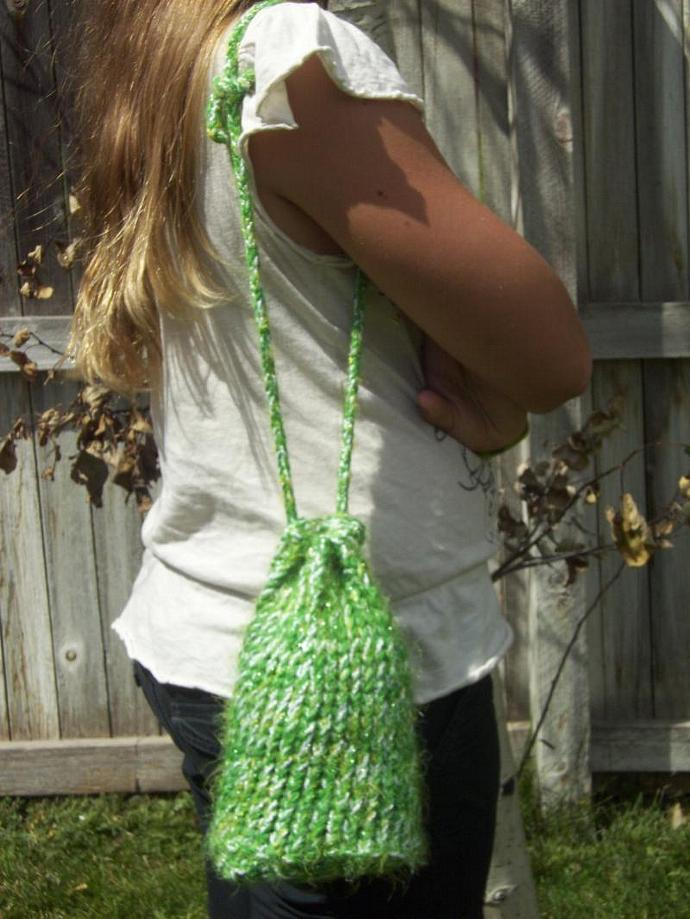 Fuzzy Green Cinch-Sac Purse
