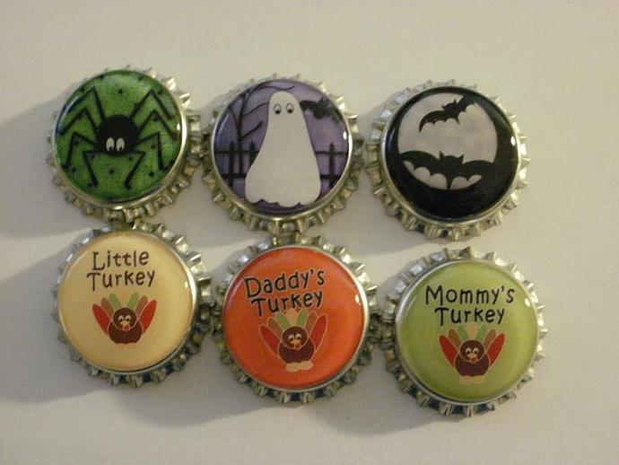 Halloween and Thanksgiving Finished Bottle Caps