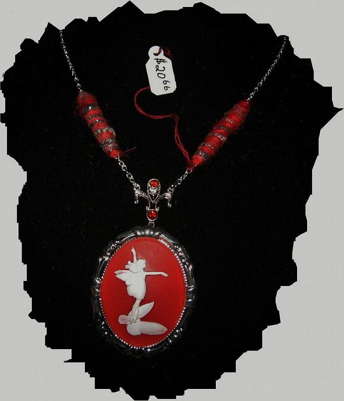 NEW Red and White Fairy Cameo With Fiber Beads Necklace