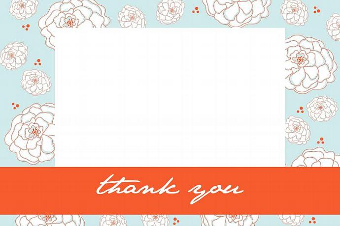Custom Thank You Card or Personal Stationery...Creamsicle...by KM Thomas Designs