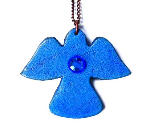 Sapphire Blue Leather Angel Pendant Necklace