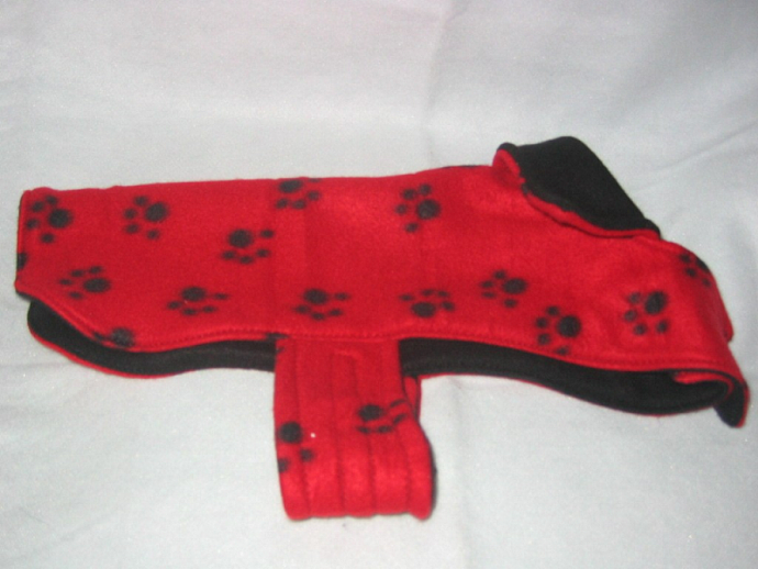 Dog Coat  Red Paw Print Reversible Fleece
