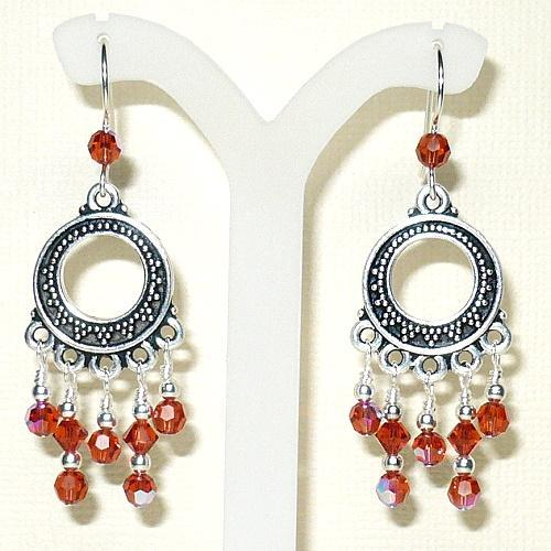 Swarovski Indian Red-AB 5000 Crystals & Bali Chandelier Earrings