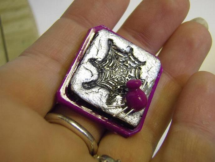 Purple Spider Pin with silver leaf and web