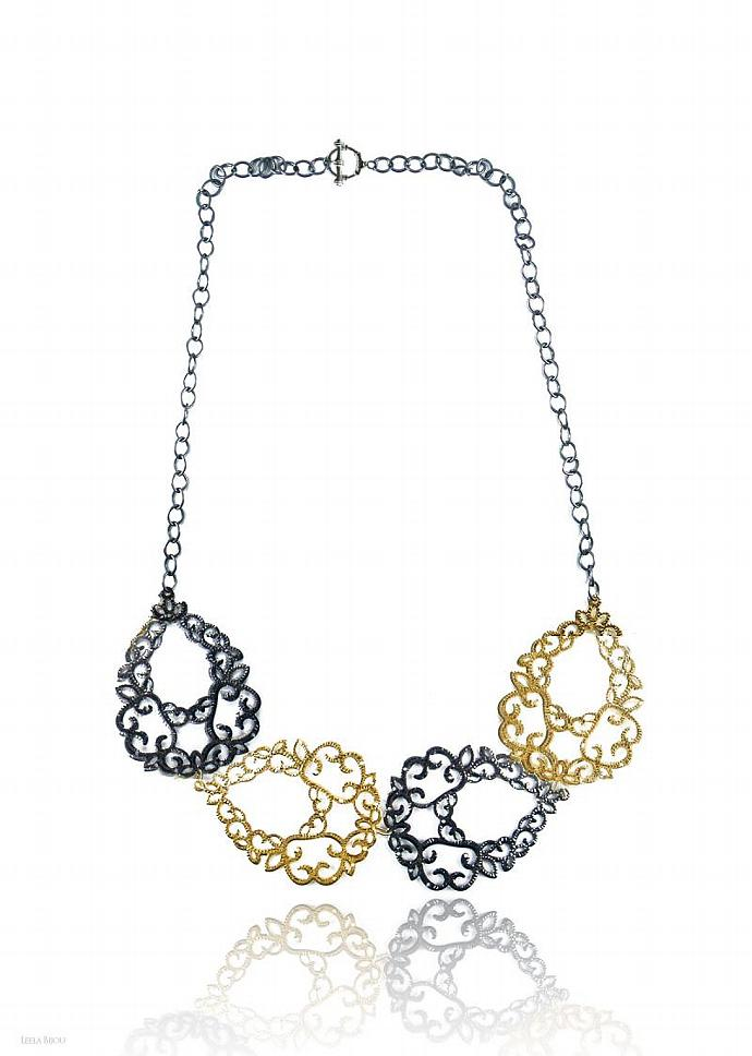 Black Gold Necklace Long Victorian Style Filigree Gold Plated