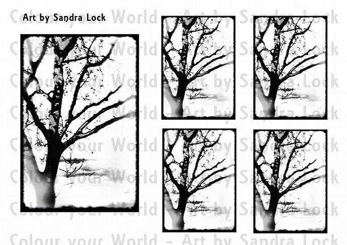 ACEO ATC Tree Art, color-me-in printable digital download sheet