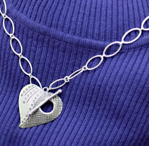 Sterling Silver Large Link Necklace with Hill Tribe Heart Clasp